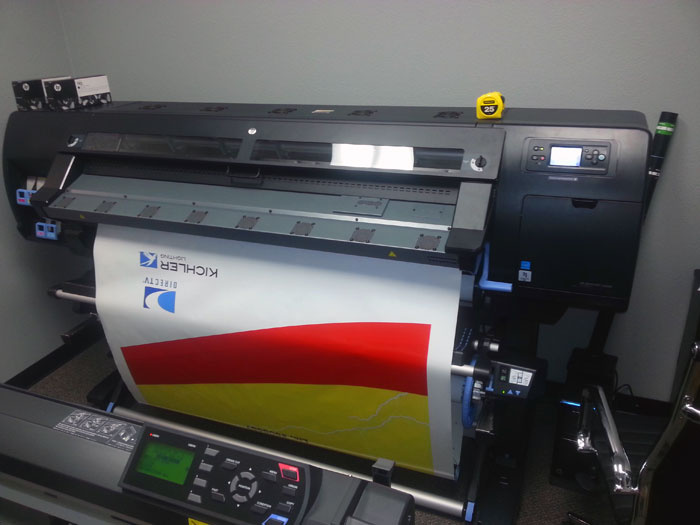 "HP 60"" Large format latex printer printing on 3M material."