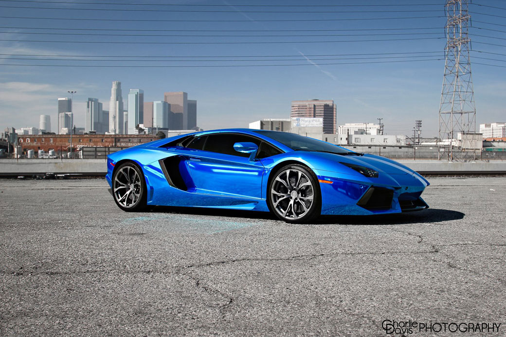 Blue Chrome Wrapped Lamborghini Aventador