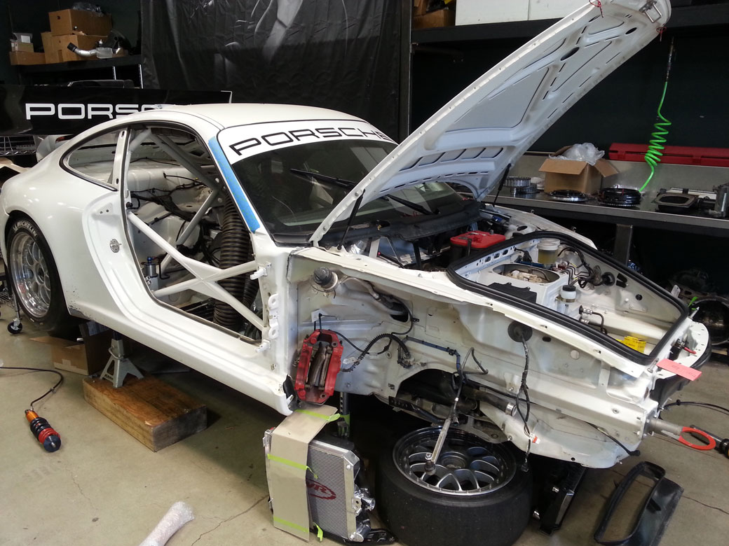 Porsche GT3 at BBI, Huntington Beach Stripped Down Before Vehicle Wrap