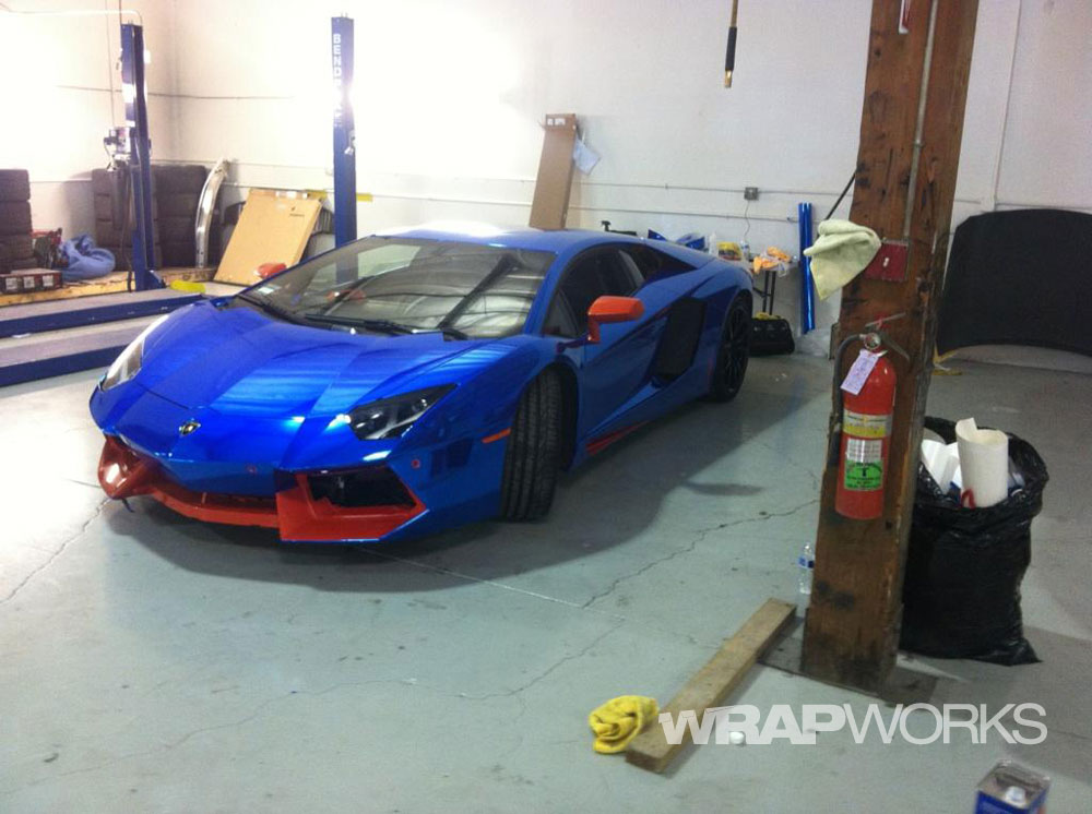 blue chrome aventador wrap in progress blue chrome aventador wrap in progress