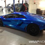 Blue Chrome Aventador Wrap in Progress