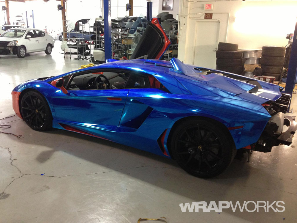 Blue Chrome Lamborghini Aventador Vehicle Wrap