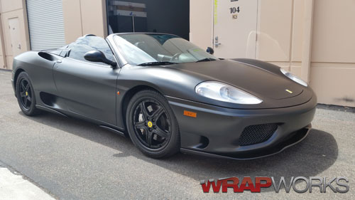 Ferrari 360 Spider Satin Black Car Wrap Orange County