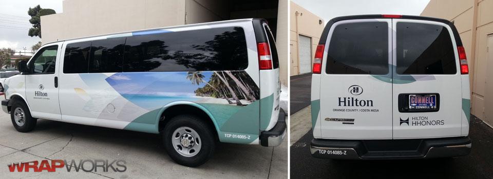 Vehicle Wraps on Hilton Hotel Vans